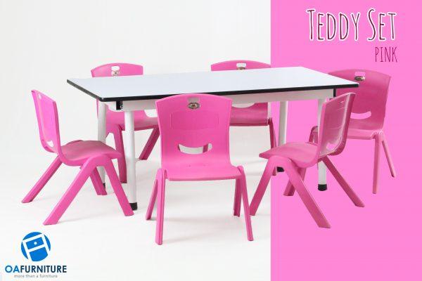 ชุดโต๊ะ เก้าอี้เด็ก Teddy Set_pink